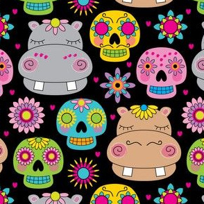 hippos and sugar skulls on black