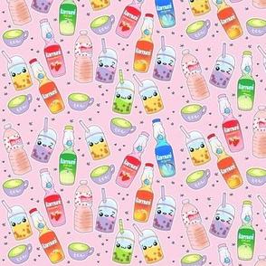 Kawaii Drinks on Pastel Pink