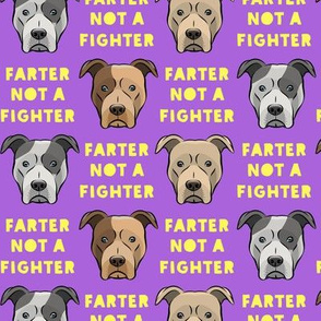 farter not a fighter - pit bulls - pitties - purple and yellow - LAD19