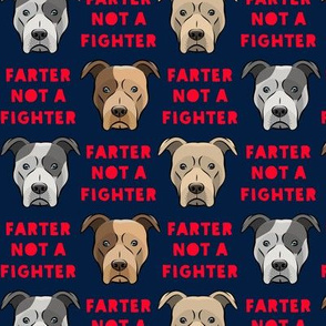 farter not a fighter - pit bulls - pitties - navy and red - LAD19