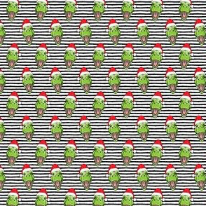 "(3/4"" scale) Santa Trex - Tyrannosaurus Dinosaur - Christmas  - black stripes - LAD19BS"