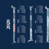 German 2020 Calendar, Monday / Sashiko Style Dachshund