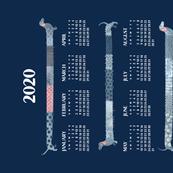 2020 Calendar, Sunday / Sashiko Style Dachshund