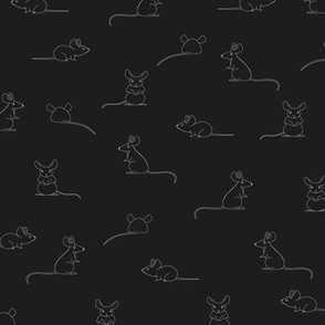 Line drawing of Mice.  Mouse pattern in black white.