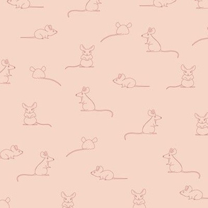 Mouse Mice - hand drawn animals. Pink