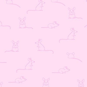 Mice mouse - hand drawn animal - Neon Pink