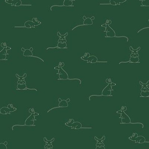 Line drawing of Mouse, mice at plain Green in beige