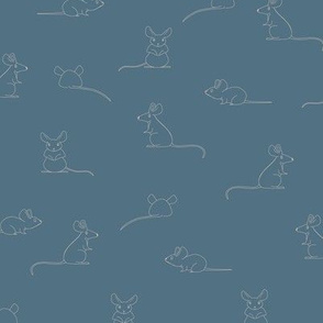 Line drawing of rat, mice at  plain Blue with beige