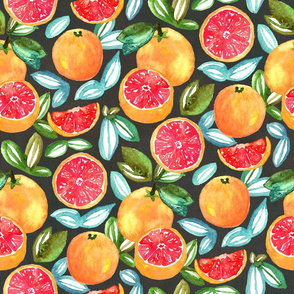 Grapefruits On Navy (Large Version)