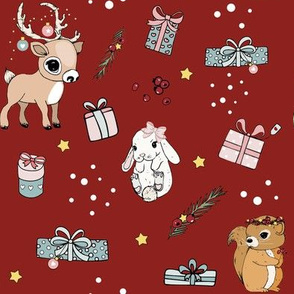 1225 xmas 2018 rendeer squirrel and bunny on red