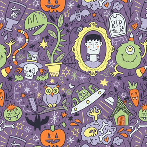 Halloween monster fun in purple