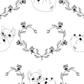 1242 piglet with heart wreath on white