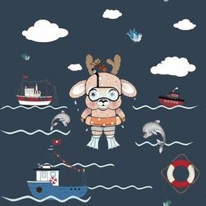1245 Reindeer Rascals by the Sea navy