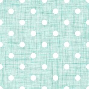 mint linen dots