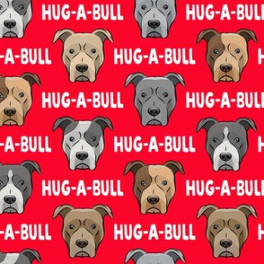 Hug-a-bull - pit bulls - American Pit Bull Terrier dog - red - LAD19