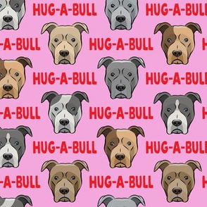 Hug-a-bull - pit bulls - American Pit Bull Terrier dog - red and pink - LAD19