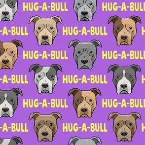 Hug-a-bull - pit bulls - American Pit Bull Terrier dog - purple and yellow - LAD19