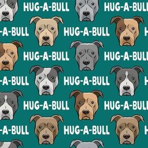 Hug-a-bull - pit bulls - American Pit Bull Terrier dog - teal - LAD19