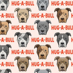 Hug-a-bull - pit bulls - American Pit Bull Terrier dog - pink and orange - LAD19
