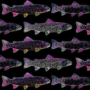 3 west slope trout outlines on black