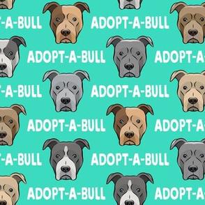 Adopt-a-bull - pit bulls - American Pit Bull Terrier dog - teal - LAD19