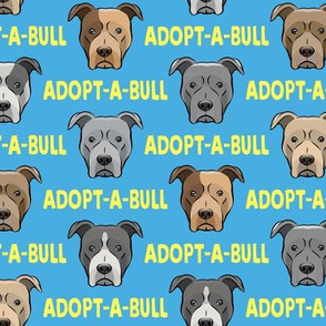 Adopt-a-bull - pit bulls - American Pit Bull Terrier dog - blue and yellow - LAD19