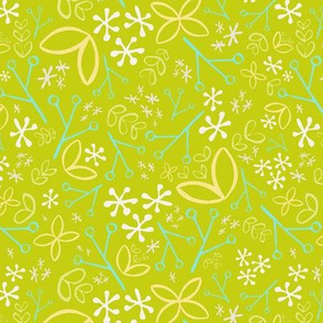 Apple Green Ditsy Floral Fat Eighth // Bright + Playful Color with Floral and Botanical Motifs // Quilting Collection // Small Scale // ZirkusDesign