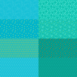 Pool Blue and Ocean Aqua Fat Eighth Coordinate Colors // Bright + Playful Quilting Collection with Geometric, Floral, and Botanical Motifs // Small Scale // ZirkusDesign