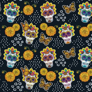 Sugar Skulls & Marigolds-Small