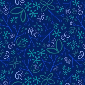 Navy Blue Ditsy Floral Fat Eighth // Bright + Playful Color with Floral and Botanical Motifs // Quilting Collection // Small Scale // ZirkusDesign