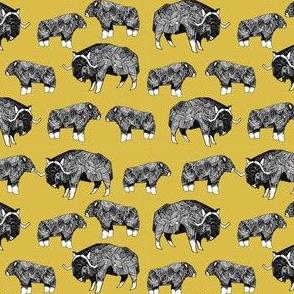 SMALL - musk ox fabric // arctic animal fabric canada alaska greenland - mustard