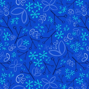Royal Blue, Navy Blue, and Aqua Ditsy Floral Fat Eighth // Bright + Playful Color with Floral and Botanical Motifs // Quilting Collection // Small Scale // ZirkusDesign