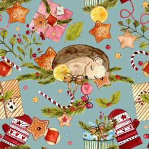 1265 Watercolor Christmas Pattern 2018 01 - Hedgie blue