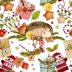 1266 Watercolor Christmas Pattern 2018 01 - Hedgie white