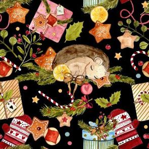 1267 Watercolor Christmas Pattern  01 - Hedgie black
