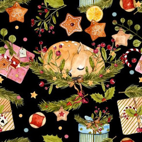 1268 Watercolor Christmas Pattern 2018 02 - Fawnie black