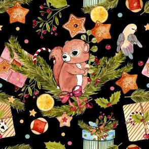 1272 Watercolor Christmas Pattern 2018 02 - Squirrel black