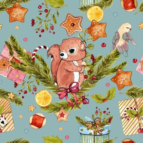 1273 Watercolor Christmas Pattern 2018 02 - Squirrel blue