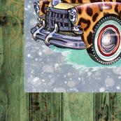 Christmas leopard truck 1 yard panel