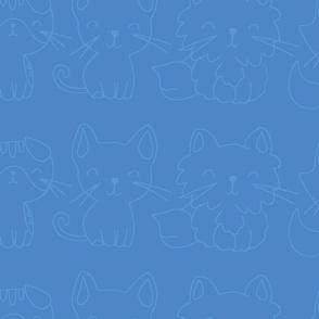 blue textured cat pattern