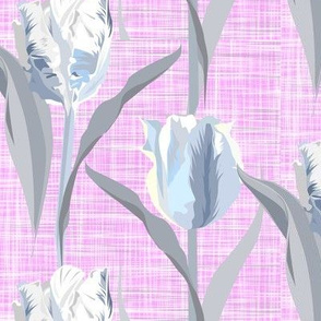 parrot tulips soft grey on pink texture - loose