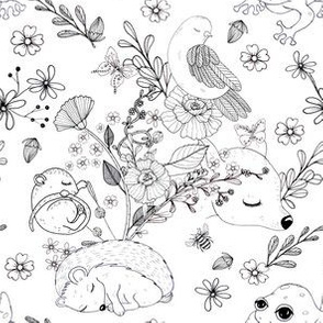1294 Woodland Friends Ink - Hedgie Bird and Frog bw