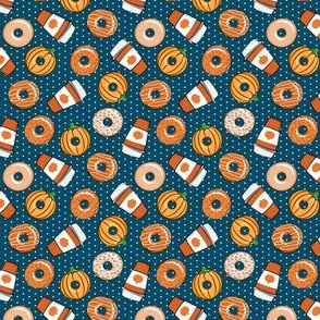 "(3/4"" scale) Coffee and Fall Donuts - PSL pumpkin fall donuts toss - blue polka dots - LAD19BS"