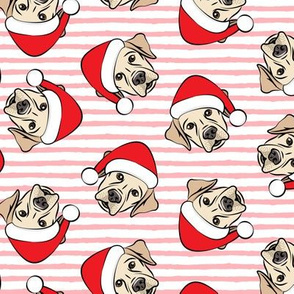 Christmas Labs - Yellow Labrador Retriever with Santa hats - pink stripes -  LAD19