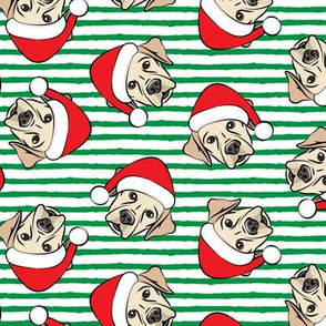 Christmas Labs - Yellow Labrador Retriever with Santa hats - green stripes -  LAD19