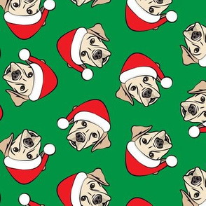Christmas Labs - Yellow Labrador Retriever with Santa hats - green -  LAD19