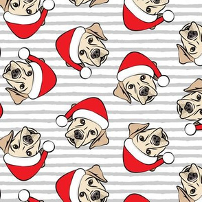 Christmas Labs - Yellow Labrador Retriever with Santa hats - grey stripes -  LAD19