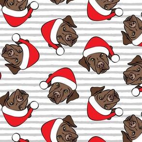 Christmas Labs - Chocolate Labrador Retriever with Santa hats - grey stripes -  LAD19
