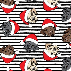 Christmas Labs - All the labs - Labrador Retriever with Santa hats - black stripes -  LAD19
