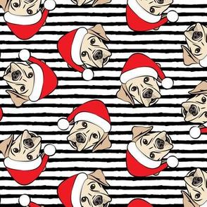 Christmas Labs - Yellow Labrador Retriever with Santa hats - black stripes -  LAD19